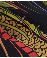 Rockins - Black Mitred Dragon Fringed Silk Scarf - Lyst