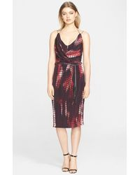 Kempner | Red 'olivia' Tassel Trim Silk Wrap Dress | Lyst