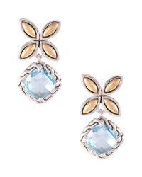 John Hardy Batu Kawung Blue Topaz Drop Earrings