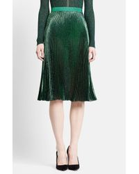 Christopher Kane | Green Lame Pleated Midi Skirt | Lyst