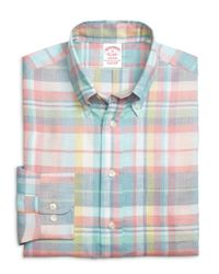 Brooks Brothers - Pink Madison Fit Plaid Linen Sport Shirt for Men - Lyst