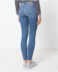 PAIGE - Blue Skinny Un-done Hem Jeans - Lyst