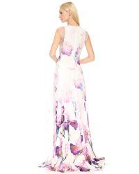 Nina Ricci Purple Floral Gown Lilac Multi