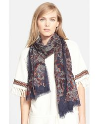 Tory Burch | Blue 'Dahlia' Wool Scarf | Lyst