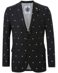 Education From Young Machines Black Embroidered Star Jacket for men