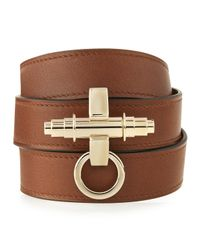 Givenchy - Brown Obsedia Leather Wrap Bracelet - Lyst