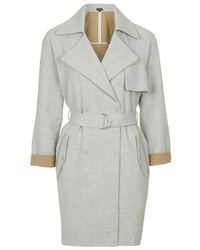 TOPSHOP - Gray Soft Belted Trench Coat - Lyst