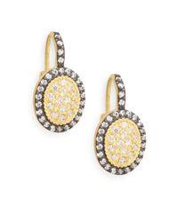 Freida Rothman - Metallic Oval Pave Drop Earring - Lyst