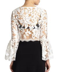 Alexis Vito Sheer Lace Bell Sleeve Blouse In Black White