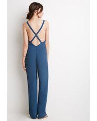 Forever 21 Blue Crisscross Back Crepe Jumpsuit
