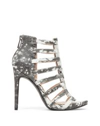Jessica Simpson Gray Riahn Leather Cage Heels
