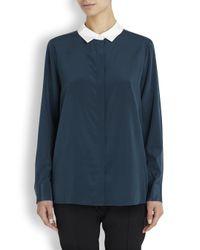 DKNY | Green Petrol Blue Stretch Silk Blouse | Lyst