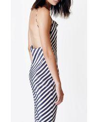 Kaelen White Stripe Cowl Slip Dress