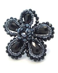 Aeravida | Blue Black Crystal Floral Sparkle Free Size Statement Ring | Lyst
