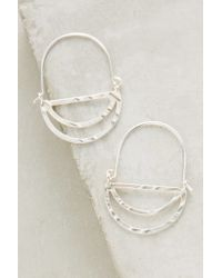 Anthropologie - Metallic Tiered Crescent Hoops - Lyst