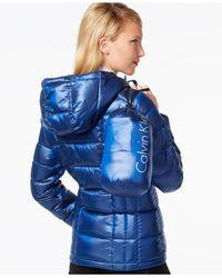 Calvin Klein - Black Metallic Packable Down Puffer Coat - Lyst