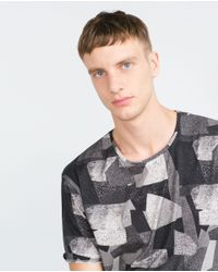 Zara   Gray Printed T-shirt for Men   Lyst