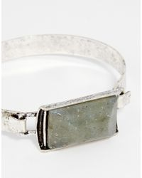 ASOS | Green Burnished Silver Hinged Bangle With Rectangle Stone | Lyst