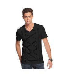 Guess Black Shirt, Roman Numeral Print T-Shirt for men