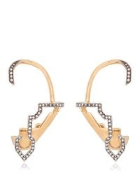 Schield | Metallic Cyborg Line Sculpture Pave Earrings | Lyst
