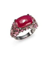 Bavna | Red Diamond, Faux Ruby & Sterling Silver Ring | Lyst