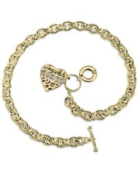 Guess | Metallic Gold-tone Heart Charm Link Toggle Necklace | Lyst