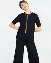 Zara | Metallic Long Geometric Chain Necklace | Lyst