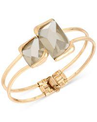 Kenneth Cole | Metallic Gold-tone Double Stone Bangle Bracelet | Lyst