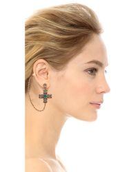 Tory Burch - Metallic Jeweled Drop Earring Cuff Multiaged Gold - Lyst