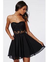 Missguided Adi Crochet Bandeau Skater Dress Black