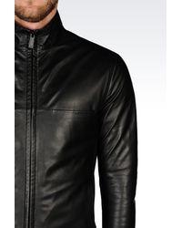 Emporio Armani | Black Full Zip Blouson In Napa Lambskin for Men | Lyst
