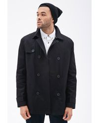 Forever 21 - Black Double-breasted Trench Coat for Men - Lyst