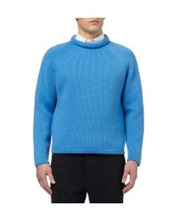 Burberry Prorsum - Blue Cashmere Crew Neck Sweater for Men - Lyst