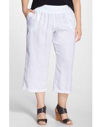 Allen Allen - White Crop Linen Pants - Lyst