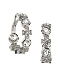 Elizabeth Showers | Metallic Topaz/sapphire Maltese Cross Hoop Earrings | Lyst