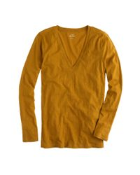 J.Crew - Orange Vintage Cotton Long-sleeve V-neck T-shirt - Lyst