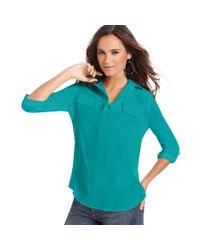 Kensie - Green Three-quarter Pocket Blouse - Lyst