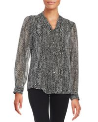 Calvin Klein | Black Patterned Blouse | Lyst