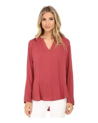 Allen Allen | Pink Rayon Crepe Long Sleeve Gathered Splitneck Top | Lyst