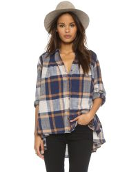 Free People Blue Peppy In Plaid Button Down - Navy Combo