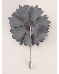 Lanvin Gray Carnation Brooch for men