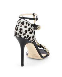 Jimmy Choo Metallic Flint Leopard-Print Calf Hair Sandals
