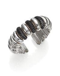 John Hardy Metallic Bedeg Black Sapphire  Sterling Silver Slim Dome Cuff Bracelet