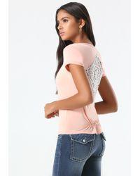 Bebe Pink Solid Crochet Inset Tee