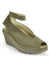 Fly London | Natural Ankle Strap Peep Toe Wedge | Lyst