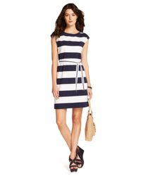 Tommy Hilfiger White Cap-Sleeve Striped Belted Dress