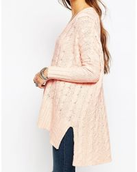 Free People   Pink Easy Cable Knit Jumper   Lyst