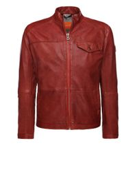 BOSS Orange | Red Leather Jacket 'jenik' In Goatskin for Men | Lyst