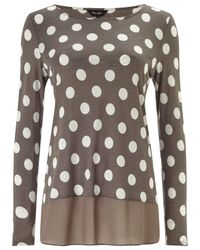 Phase Eight Gray Kelly Spot Top