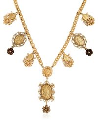 Dolce & Gabbana Black Gold Plated Metal Pendant Necklace